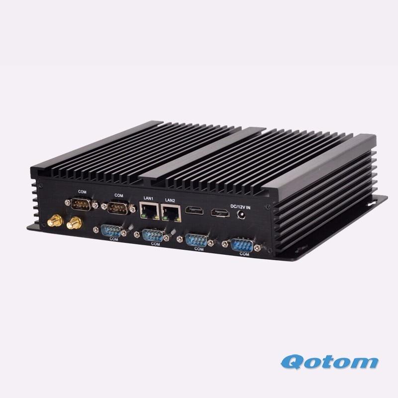 100% New Dual lan Qotom Industrial computer X86 Dual RJ45 Thin client computer Core I3 Dual display mini pc  new thin client computers with 4 gigabit ethernet lan 1 7g dual core 4g 500g fanless industrial pc x86 network security