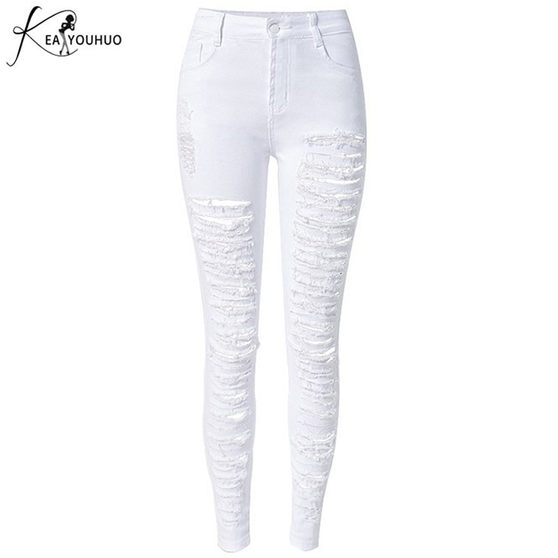 New 2017 Fashion Women High Waist Jeans Casual Hole Knee Torn Skinny Denim Pencil Pants White Ripped Jeans Leggings For Womens 2017 new fashion beading ripped jeans women high waist boyfriend style washed hole skinny jeans casual denim pencil pants