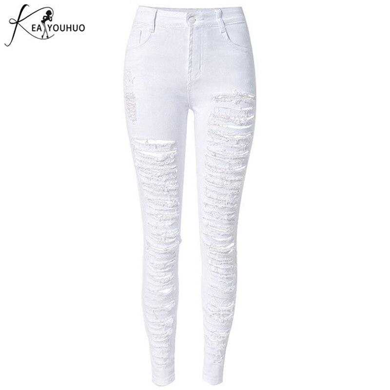 Léto 2018 módní ženy legíny vysoké pasové džíny žena dírka koleno roztrhané hubené džínové tužky kalhoty bílé roztrhané džíny pro dámy