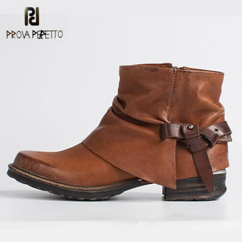 Prova Perfetto Brown Ankle Boots for Women Straps Genuine Leather Rubber Short Botas Mujer Female Platform Martin Boots prova perfetto black handmade women genuine leather mid calf boots buckle straps martin boots women platform rubber shoes woman