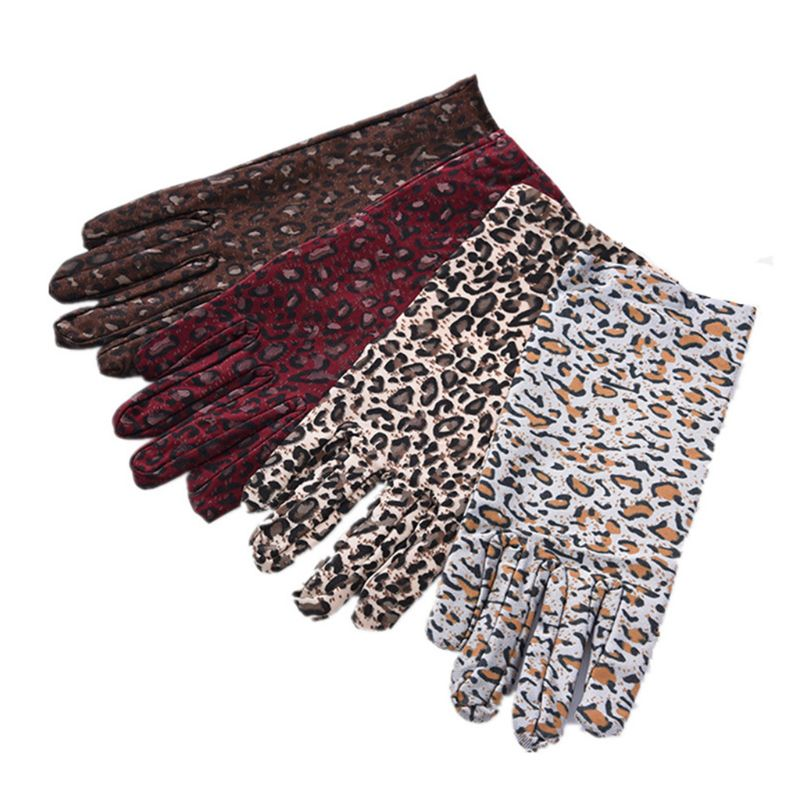 1Pair Fashion Leopard Print Party Sexy Dressy Gloves Women High Quality Paragraph Gloves Mittens Full Finger Gloves