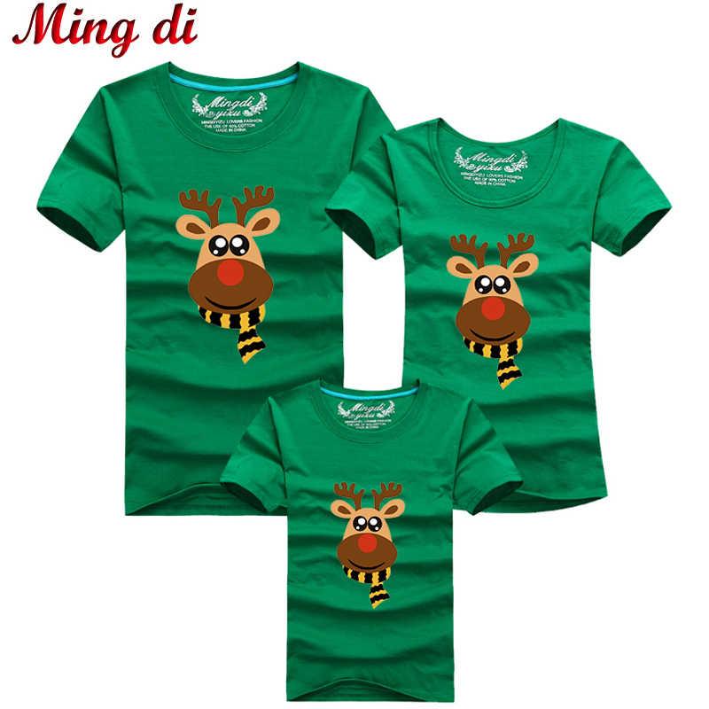 39b9c19db0 2019 Ming Di Navidad ciervos T camisas familia juego trajes T Camisa de  algodón de moda