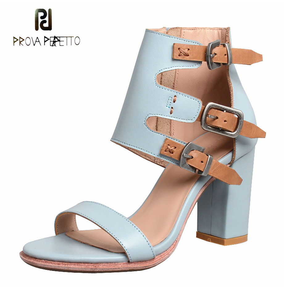 Prova Perfetto 2019 new arrival cow leather chunky high heel sandals women buckle strap patchwork open toe gladiator sandalsProva Perfetto 2019 new arrival cow leather chunky high heel sandals women buckle strap patchwork open toe gladiator sandals