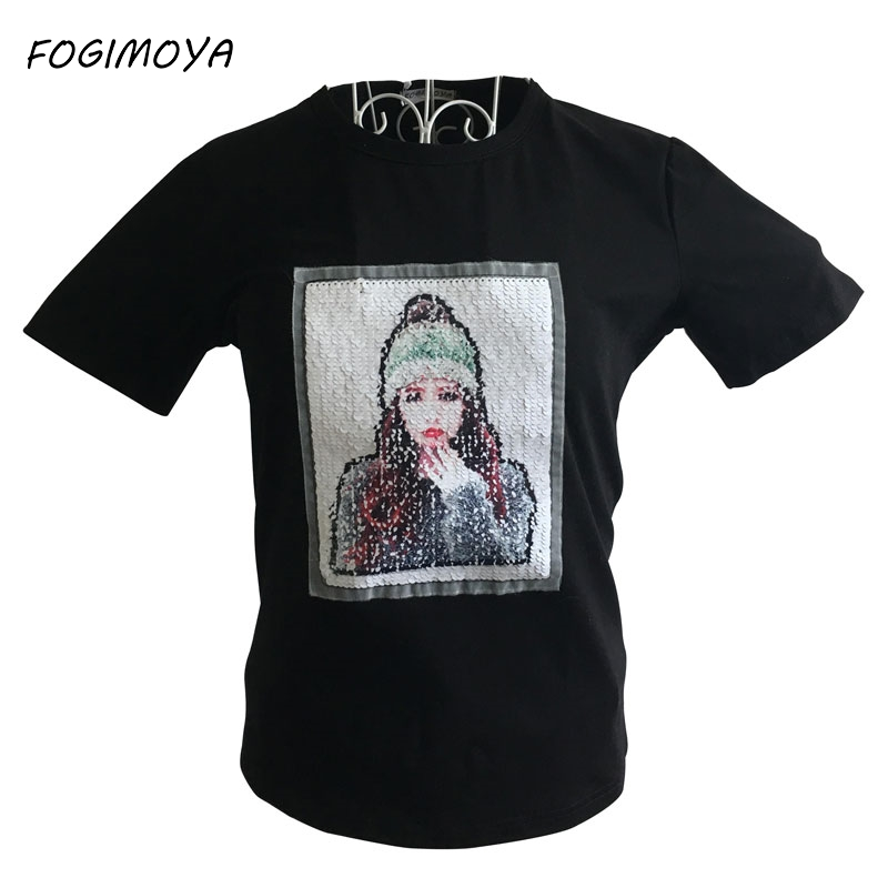 FOGIMOYA Sequined T Shirt 2018 Summer Emoji Top Short Sleeve T Shirts Girl Sequined  Tee Tops Casual Couples Black Tee New 85622f92786c
