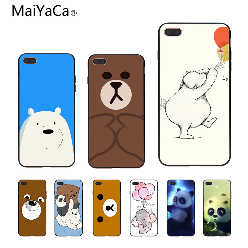 MaiYaCa Lets Celebrate Cute Bear Illust Art Novelty Fundas Phone Case Cover For iphone X 8 8plus 7 7plus 6 6s Black Case cover