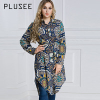 Plusee Shirt Plus Size 6XL 7XL Women 2017 Loose Dark Blue Single Breasted Lapel Floral Color