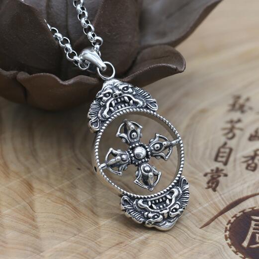 NEW 100% 925 Silver Tibetan Dorje Pendant Sterling Good Luck Wealth Pixiu Necklace Pendant Pure Silver Buddhist Vajra Pendant