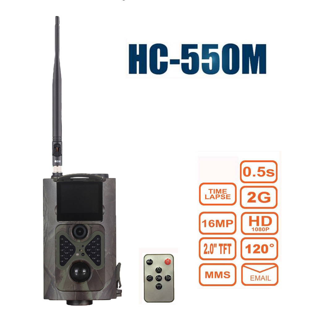 HC550M Trail Camera HD 1080P 16MP GSM GPRS MMS 0.5S Trigger Hunting Cameras Game Night Vision Infrared Photo Trap 2 lcd hd 1080p mms digital infrared