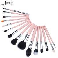 Jessup Pro 15pcs Makeup Brushes Set Powder Foundation Eyeshadow Concealer Eyeliner Lip Brush Tool Pink Silver