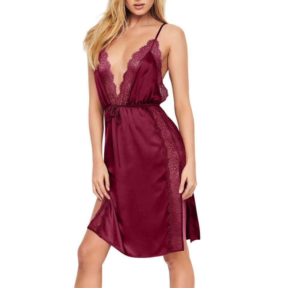 2018 sleepwear sexy strap lace edge simulation silk nightdress deep V hollow open temptation long paragraph nightdress