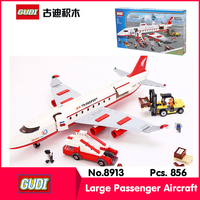 GUDI 8913 856Pcs Technic Series Large Passenger Aircraft Model Building Blocks Set Bricks Toy Compatible Legoe