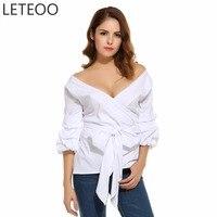 Hot Fashion 2017 Summer Ruffles Blouse Shirt Women Sexy V Neck Lantern Sleeve Clothing Lady Tops