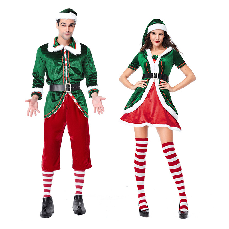 2018 New lover Green Velvet Christmas Santa Claus Costume Father Christmas Costume for men women Green elf outfit costume