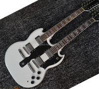 high quality 6 + 12 Strings Double Neck SG White electric guitar SG guitar;free shipping