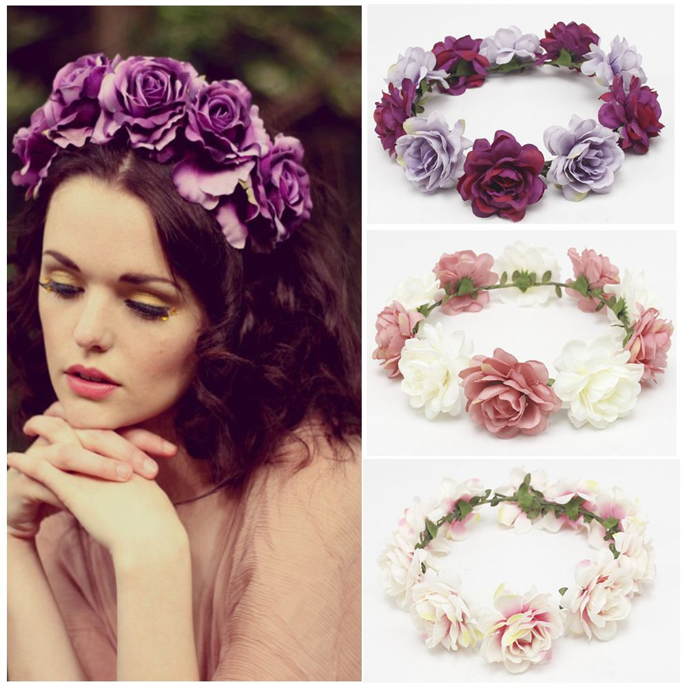 Okdeals New Fashion Women Children Girls Wedding Flower Bride Wreath Floral Garlands Bride Headband Hair Band Hair Accessories(China)