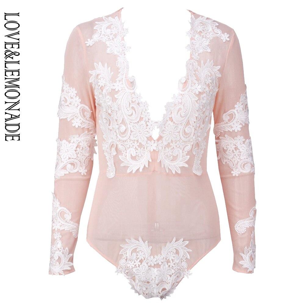 Amore & Limonata Rosa Reticolare Pizzo Bianco Adesivo Lungo Tuta Del Manicotto Lm0005 2019 Nuovo Stile Di Moda Online
