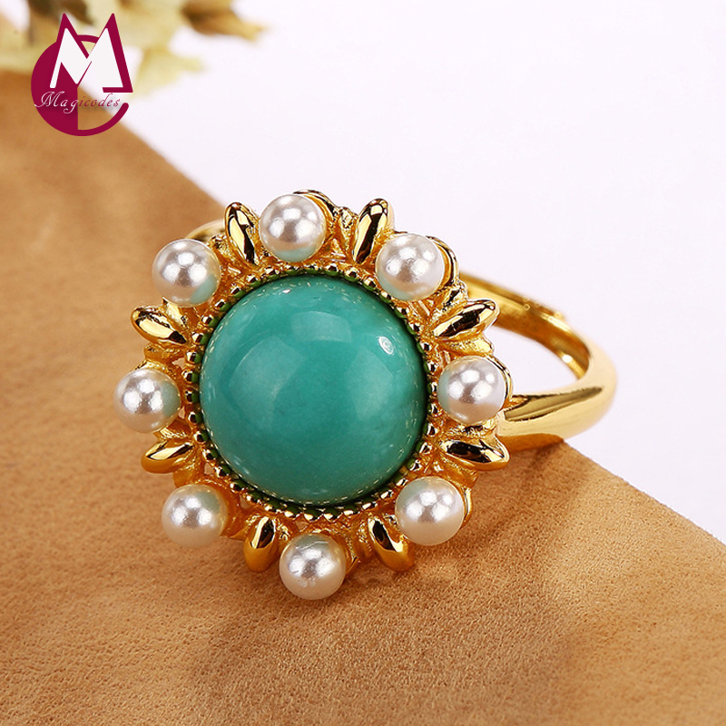 2019 Mosaic Pearl Turquoise Initial Adjustable Ring 100% 925 Sterling Silver Fashion Jewelry Women wedding band Simple Ring R312019 Mosaic Pearl Turquoise Initial Adjustable Ring 100% 925 Sterling Silver Fashion Jewelry Women wedding band Simple Ring R31