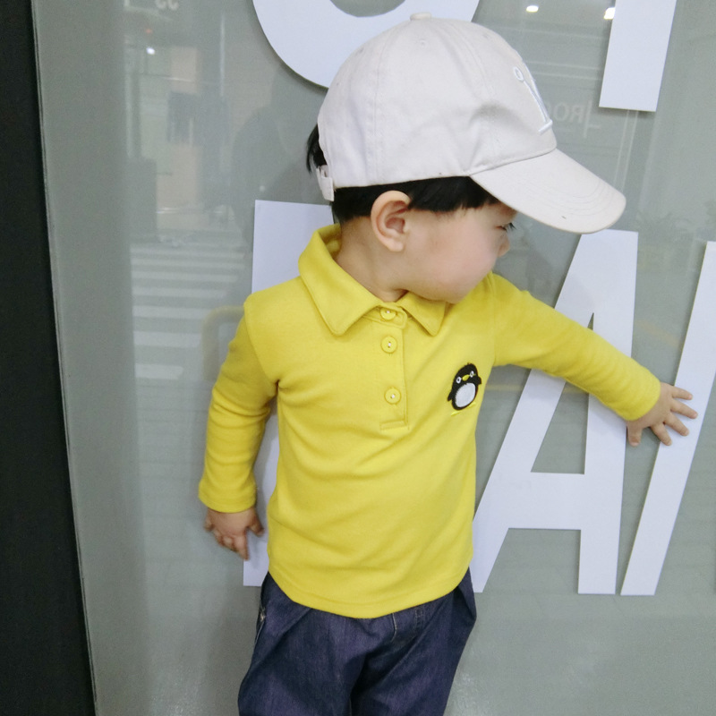 Childrens Long-sleeve Embroidered POLO Shirts Clothes Baby Cotton Knitted T-shirt Kids Cartoon Boy Top