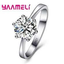 Real 925 Sterling Silver Big Promotion Super Bright Cubic Zirconia Finger Rings For Women Bridal Wedding Crystal Jewelry(China)