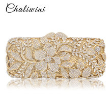Chaliwini Luxury Handbags Women Bags Designer Crystal Flower Metallic Clutches Female Chains Shoulder Bags Evening Handbags cheap Flap Day Clutches Synthetic Leather Single Diamonds Hollow Out Dress Floral Hasp HARD Interior Compartment Interior Slot Pocket