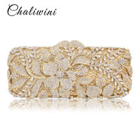 Chaliwini Luxury Handbags Women Bags Designer Crystal Flower Metallic Clutches Female Chains Shoulder Bags Evening Handbags