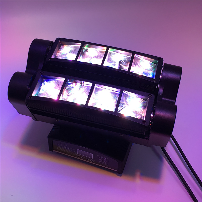8x10W 4IN1 RGBW MINI LED Spider Moving Head Beam Light DMX Led Light Beam Angle Led Stage Lights DJ Party Fast Shipping 6pcs lot dj lights cree 9pcs 15w sharpy beam light 4in1 rgbw moving head beam led light extend robot rotating dmx stage light