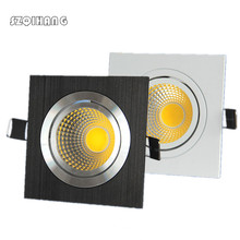 Dimmable Led downlight light COB Ceiling Spot Light 7w 10w 85-265V ceiling recessed Lights Indoor Lighting White Black Silver 7w 600lm 6500k white 7 led ceiling light silver 89 265v