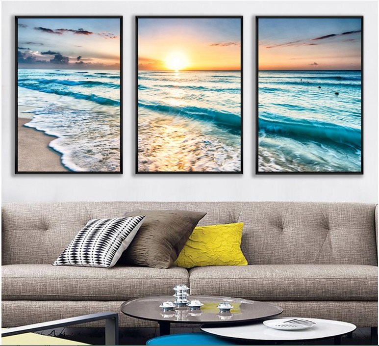 Sea View Combination 3 Pieces Decorative Paintings Wall Art Print Picture Canvas Painting Poster for Living Room No Framed in Painting Calligraphy from Home Garden