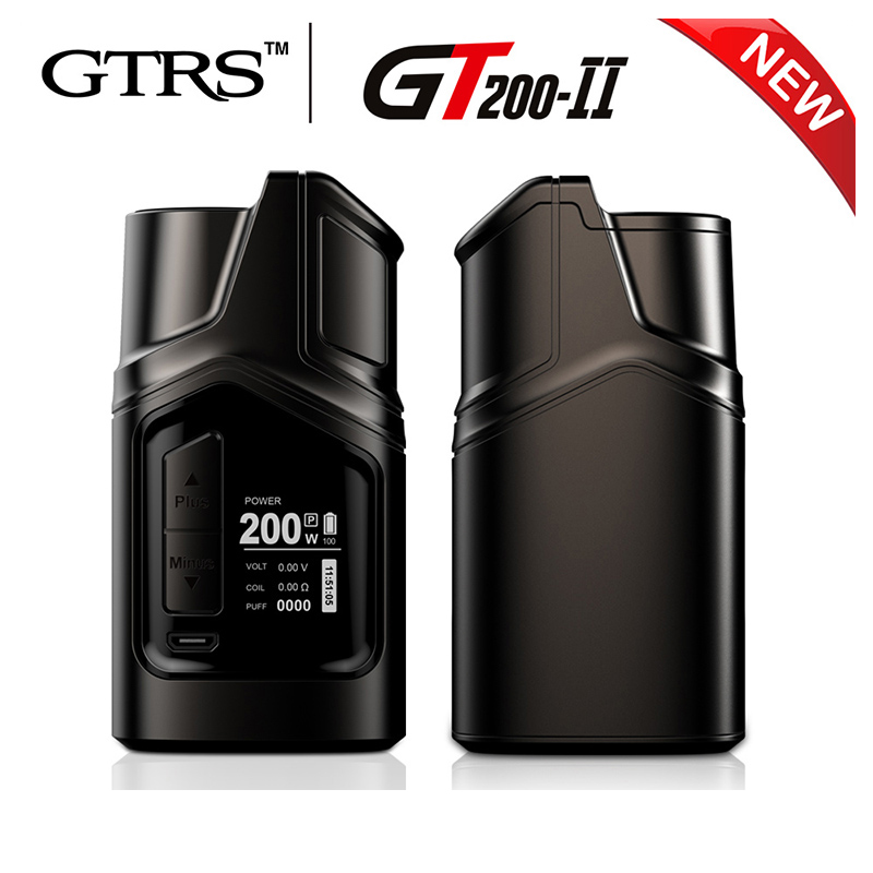 Original GTRS GT200 II TC Box mod ECigarette with 200W LIMOU Chip power by dual 18650 battery work with 510 Thread TFV8 Tank original kangside gtrs gt200 box mod limou chip mod vape 18650 upgrade gt150 mod 18650 vape mods vaporizer