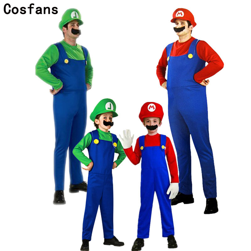 COSFANS Hot Super Mario Bros Cosplay Costume Dance Set,Kids Halloween Party MARIO & LUIGI Costume for Kids and Adults Kids Gifts