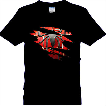 Spider Man Logo Print T Shirt Men Black Superhero Fashion