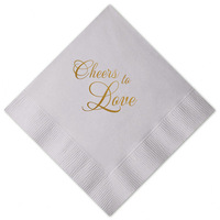 Cheers to Love Wedding Napkins Golden Print Three layer Paper Napkins Birthday Bridal Shower Party Dinner Table Napkin