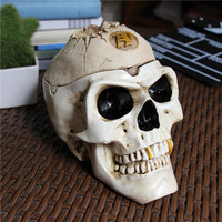 Resin Skull with Cap Hat Home Decoration Craft Statues Skull High Quality Halloween Props Retro Vintage Decor Ornaments