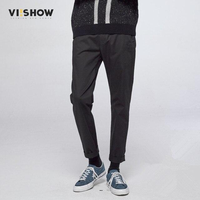VIISHOW Мужчины Брюки Slim Fit Прямые Брюки Мужчины Случайные Брюки Брюки Длинные Черные Тренировочные брюки для Мужчин 29-36 KC18263