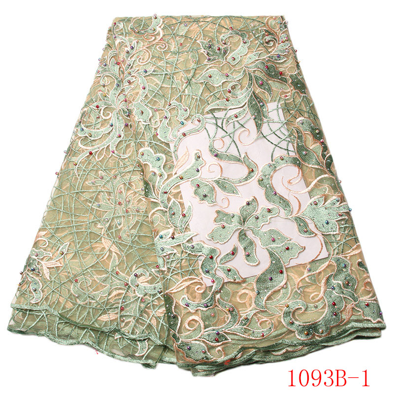 High Quality African French Lace Fabric in Green 2017 Wedding Net Nigeria Embroidered Party Dress NA1093B-1High Quality African French Lace Fabric in Green 2017 Wedding Net Nigeria Embroidered Party Dress NA1093B-1