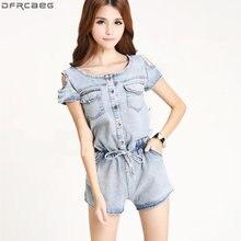Комбинезон женский джинсовый с открытыми плечами пикантный облегающий