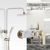Wall Mounted Shower Faucet White Luxury European Style Gold Rainfall Shower Set Mixer Faucets Bath Rain