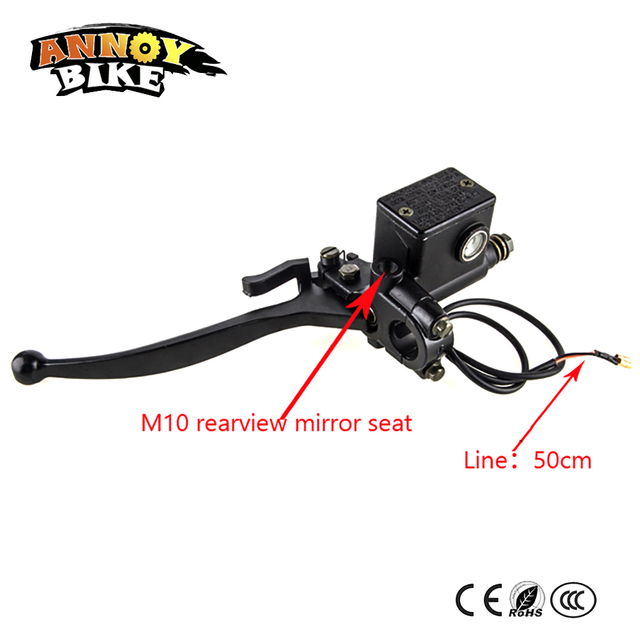 Electric Bike Hydraulic Brake Tricycle Moped Rear Master Cylinder Lever Pump With 10mm Mirror