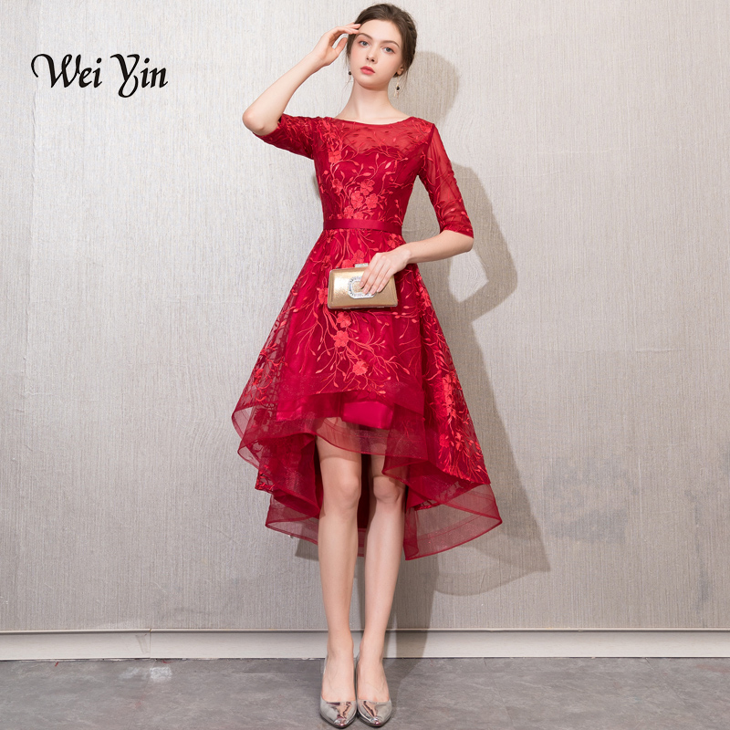 Weiyin nouvelle robe de soirée Sexy o-cou dos nu vin rouge dentelle Appliques asymétrique robe de soirée robes formelles personnalisées WY778