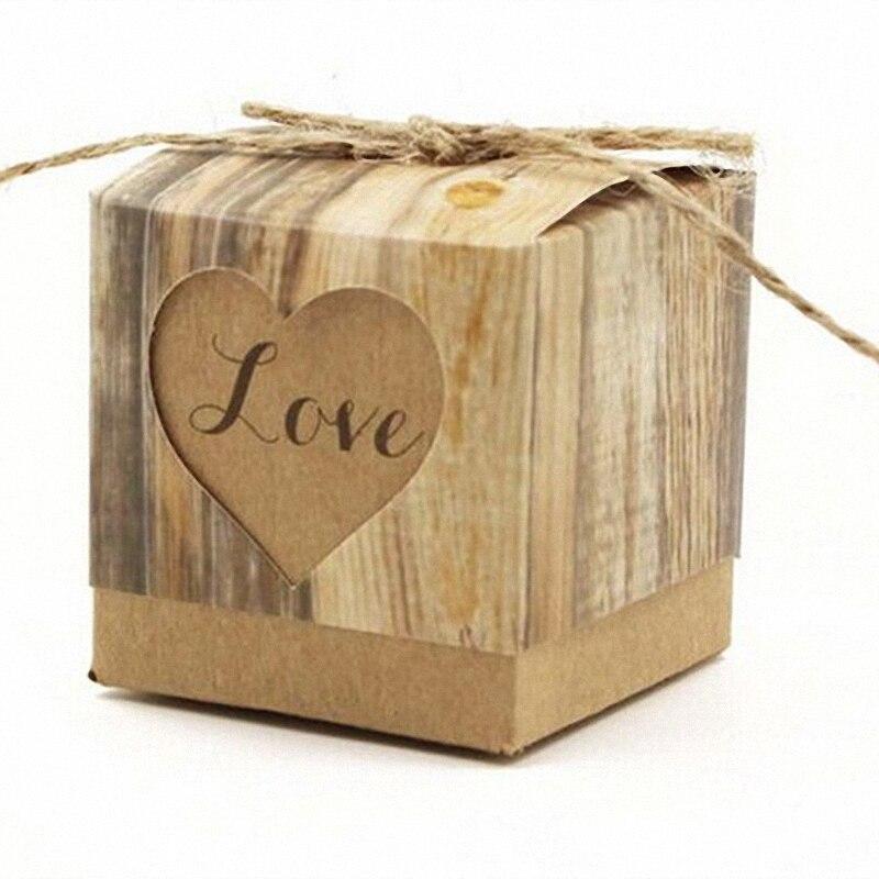 ₩100 unids vendimia rústica decoración de la boda amor corazón cubo ...