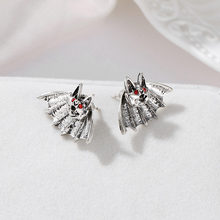 Punk Hip Hop Men Novel Animal Ear Stud Earring Lovely Ctue Silver Red Bat Earring New Statement Women Jewelry Brincos(China)