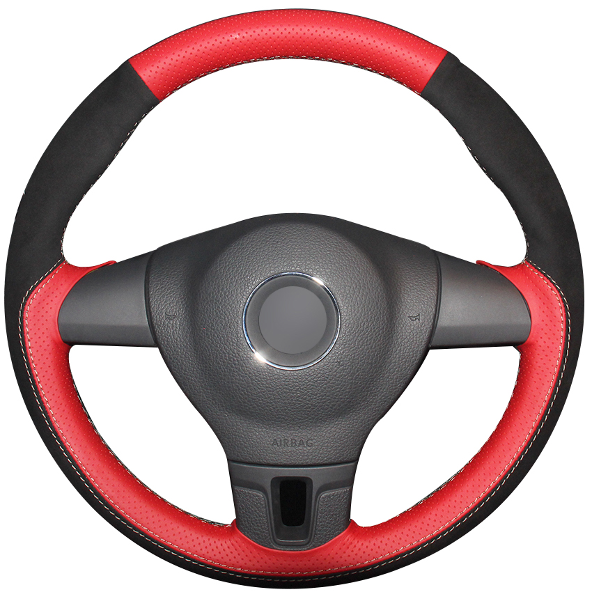 Red Natural Leather Black Suede Car Steering Wheel Cover