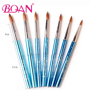Image 2 - BQAN 10pcs #6#8#10#12#14#16#18 Kolinsky Sable Brush Acrylic Nail Art Brush Nail Art Brush Blue Metal Crystal Acrylic Salon 2017