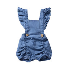 Newborn Fashion Kids Girls Overalls Solid Jean Short Toddle Baby Girl Button Decoration Cute Sleeveless Romper Children Clothes