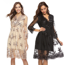Street hipster long-sleeved V-neck sequined A-line skirt short sexy lace solid color loose waist dress free shipping