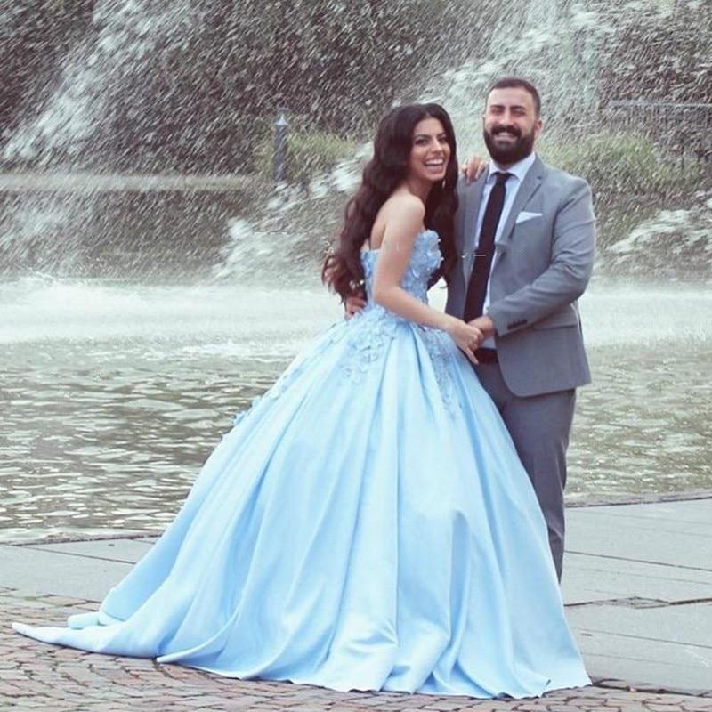 2019 abiye Elegant   Evening     Dress   Ball Gown Lace Appliques Blue Floral Formal Gown Vintage Arabian abendkleider suknie wieczorowe