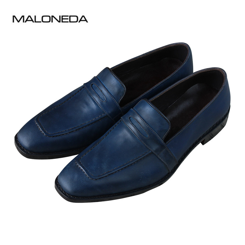 MALONEDA Bespoke Blue Color Goodyear Handmade Genuine Leather Slip On Shoes Casual Comfortable Mens LoaferMALONEDA Bespoke Blue Color Goodyear Handmade Genuine Leather Slip On Shoes Casual Comfortable Mens Loafer