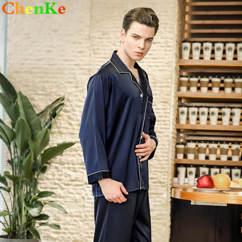 7f93a2df80 ChenKe 2018 Chinese Satin Silk Pajamas Sets Long Sleeve Men Turn Down  Collar Pajamas Male With Pockets Button Sleepwear Sets-in Men s Pajama Sets  from ...