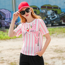 Pink Panther Striped Tshirt 2018 Summer T Shirt Women Harajuku Loose Cartoon Short Sleeves T-shirts Hollow Out Movement Tops