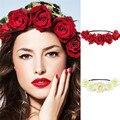 1 UNIDS de Señora Girl Floral Fiesta de La Flor de la Boda Garland Frente Venda Principal Del Pelo de Las Vendas Del Pelo Accesorios Headwear